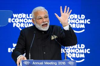 Prime Minister Narendra Modi delivers a speech on the opening day the World Economic Forum 2018 annual meeting in Davos on Tuesday . Photo: AFP