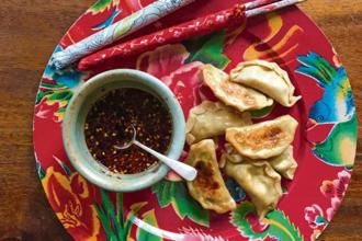 Potsticker-style momos. Photo: Pamela Timms