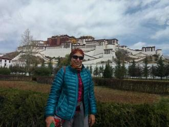 Aparna Prabhudesai outside the Potala Palace in Lhasa. Photo: Shail Desai