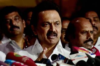 File photo. DMK working president and leader of opposition in Tamil Nadu assembly, M.K. Stalin (centre), demanded that chief minister K. Palaniswami should immediately withdraw the hike or resign. Photo: PTI