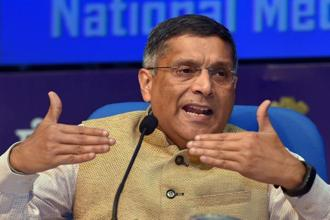 Chief economic adviser Arvind Subramanian addresses the media after the Economic Survey 2017-18 was tabled in Parliament in New Delhi on Monday. Photo: PTI