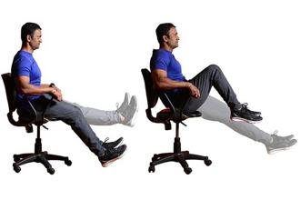 Sit on chair with your spine erect and extend your legs (Left) ; Sit on edge of the chair, lean back your body weight on hip, left your feet off the floor with knees extended and then pull your knee (Right). Photo: Aniruddha Chowdhury/Mint