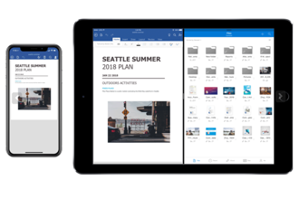 The OneDrive interface for iOS has been revamped from the ground up. It uses screen space smartly, showing the folders and files in a single list with their detailed metadata in the next column.