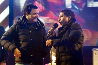 Congress President Rahul Gandhi with Meghlaya chief minister Mukul Sangma at a musical evening in Shillong on Tuesday. Photo: PTI