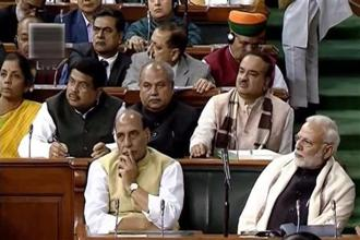 Rajnath Singh congratulated Prime Minister Narendra Modi and finance minister Arun Jaitley on presenting a 'historic budget for a new India'. Photo: PTI