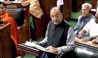 FM Arun Jaitley delivering his budget speech in Parliament on Thursday. Photo: PTI
