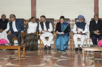 UPA chairperson Sonia Gandhi, former prime minister Manmohan Singh, NCP president Sarad Pawar, Congress president Rahul Gandhi and JDU leader Sharad Yadav among others during an all opposition party meeting in New Delhi.  Photo: PTI