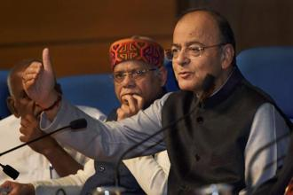 Finance minister Arun Jaitley addresses a press conference after Union Budget 2018 presentation in New Delhi on Thursday. Photo: PTI