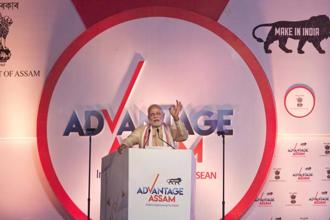 Prime Minister Narendra Modi delivers his speech at the inaugural function of Advantage Assam Global Investor's Summit 2018 in Guwahati. Photo: AP