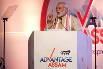 Prime Minister Narendra Modi delivers his speech at the inaugural function of Advantage Assam Global Investor's Summit 2018 in Guwahati on Saturday. Photo: AP