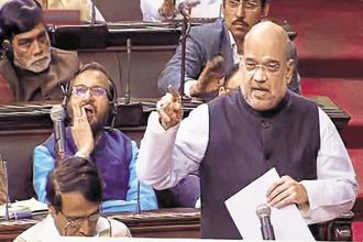 BJP chief Amit Shah delivers his maiden speech in the Rajya Sabha on Monday. Photo: PTI