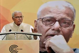 BJP leader Yashwant Sinha speaks during a panel discussion and an interactive session on an analysis of Union Budget 2018-19, in Kolkata on Tuesday. Photo: PTI