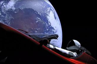 Elon Musk outfitted his Roadster with cameras to capture views of the car as it floated through space. Photo: AFP