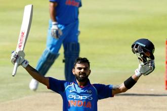 Virat Kohli made 160 not out from 159 balls as India, who had been put into bat, posted 303 for six in their 50 overs, before restricting South Africa to 179 all out in 40 overs. Photo: Reuters