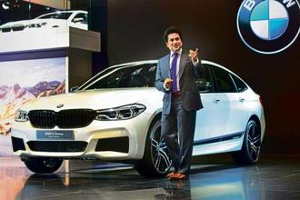 BMW India brand ambassador Sachin Tendulkar at the launch of BMW 6 Series Gran Turismo at the Auto Expo 2018. Photo: Ramesh Pathania/Mint