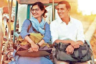 A still from 'Padman' featuring actors Sonam Kapoor and Akshay Kumar.