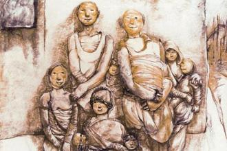 'Wounded Family' by Bikash Bhattacharjee. Photographs courtesy Cima gallery