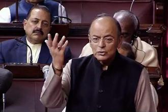 Finance minister Arun Jaitley in Parliament. Photo: PTI