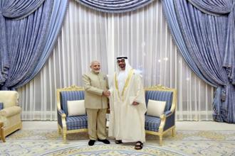 The contract was signed in Abu Dhabi in the presence of Abu Dhabi Crown Prince Sheikh Mohamed bin Zayed al-Nahyan and Prime Minister Narendra Modi. Photo: PTI