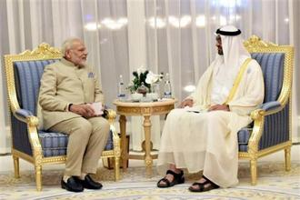 Prime Minister Narendra Modi during talks with the Crown Prince of Abu Dhabi Mohammed Bin Zayed Al Nahyan on Saturday. Photo: PTI