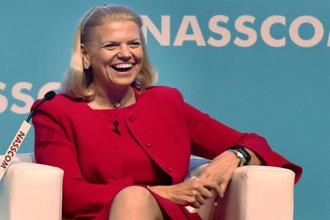 Ginni Rometty, chairperson, president and CEO of IBM, remains optimistic about India's growth story because of good progress of some of the key government programmes, a talented work force and government's push towards ease of doing business. File photo: PTI