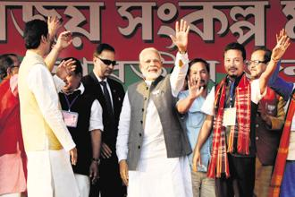 Prime Minister Narendra Modi at the BJP's rally in Agartala, Tripura, on Thursday. Photo: PTI