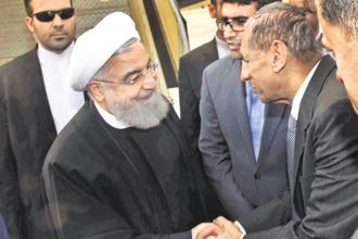 Iranian President Hassan Rouhani arrives in Hyderabad on Thursday. Photo: PTI