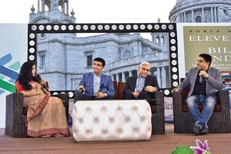 (from left) Malavika Banerjee, Sourav Ganguly, Vinod Rai and Boria Majumdar at the Kolkata Literary Meet 2018.