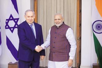 A file photo of Prime Minister Narendra Modi with his Israeli counterpart Benjamin Netanyahu. Photo: Pradeep Gaur/Mint