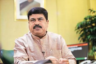 A file photo of Union oil minister Dharmendra Pradhan. ONGC Videsh will rework the $6.2 billion cost of developing the Farzad-B gas field in the Persian Gulf, which it had discovered a decade back, to get Iran to award rights of the field to it.