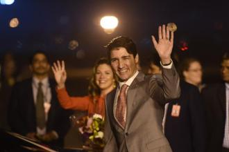 Canadian Prime Minister Justin Trudeau, accompanied by his wife and three children, will also visit Agra, Ahmedabad, Mumbai and Amritsar. Photo: AFP