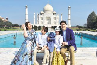 Canadian Prime Minister Justin Trudeau with his wife and children at the Taj Mahal on Sunday. Photo: PTI