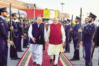 During one such visit on 25 December 2015, Prime Minister Narendra Modi had a brief stopover in Lahore at the request of then Pakistan prime minister Nawaz Sharif. Photo: PTI