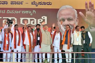 Prime Minister Narendra Modi said a BJP government would work on 'mission mode' to help Karnataka realise its potential and take it to new heights. Photo: PTI