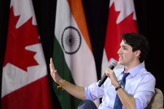 Canadian Prime Minister Justin Trudeau  at the Indian Institute of Management in Ahmedabad on Monday. Photo: AP