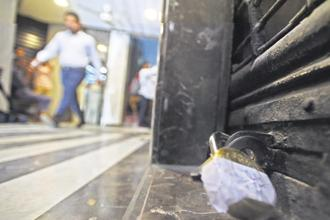 CBI sealed Punjab National Bank's Brady House branch in Mumbai on Monday as various government agencies stepped up their investigation into the PNB fraud. Photo: PTI