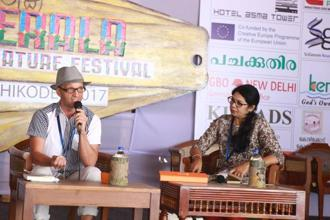 Dr Bindu Amat in conversation with Runo Isaksen at the Kerala literature Festival .