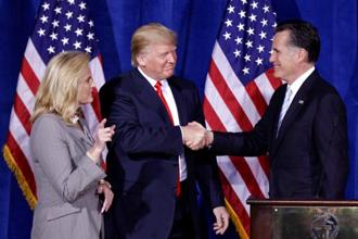 US President Donald Trump is endorsing Mitt Romney in Utah's Senate race, another sign that the two Republicans are burying the hatchet after a fraught relationship. Photo: AP