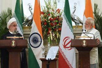 Prime Minister Narendra Modi and Iranian president Hassan Rouhani during a joint press briefing at Hyderabad House in New Delhi. A case of 'deft diplomacy' is India's cooperation with Iran on the one hand and its growing relations with Israel, the US and Saudi Arabia on the other.