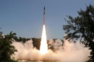 File photo.The state-of-the-art missile, already a part of the country's arsenal for strategic deterrence, was launched as a training exercise by the armed forces, a DRDO scientist said. Photo: AFP