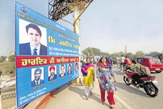 A hoarding of Canadian Prime Minister Justin Trudeau in Amritsar on Tuesday ahead of his visit. Photo: PTI