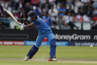 India's Harmanpreet Kaur looked in a punishing mood during her 30-ball 48 and together with opener Smriti Mandhana (37) added 55 runs for the second wicket in quick time in the third Twenty20 International in Johannesburg. Photo: AFP