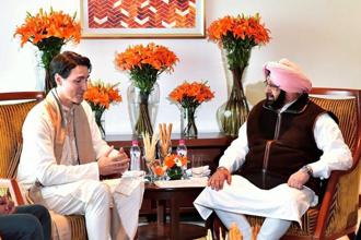 Canadian Prime Minister Justin Trudeau with Punjab chief minister Amarinder Singh in Amritsar on Wednesday. Photo: PTI