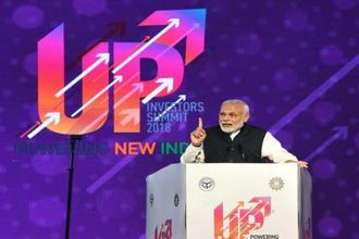 Prime Minister Narendra Modi speaks at the inauguration of the UP Investors Summit 2018 in Lucknow on Wednesday. Photo: PTI