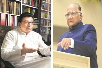 Maharashtra Navnirman Sena head Raj Thackeray (left) and Nationalist Congress Party chief Sharad Pawar. Photo: Abhijit Bhatlekar/Mint and HT