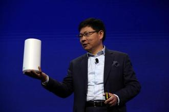 Richard Yu, CEO of the Huawei Consumer Business Group, presents the new Huawei 5G CPE router before the Mobile World Congress in Barcelona on Sunday. Photo: Reuters