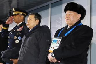 North Korean delegation leader Kim Yong Chol attends the closing ceremony of Pyeongchang Winter Olympics with South Korea's constitutional court president Lee Jin-sung and US forces commander Vincent Brooks on 25 February, 2018. Photo: Reuters