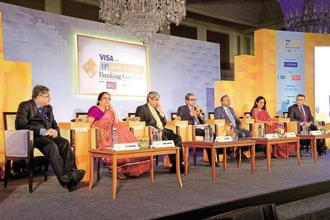 (From left) P.S. Jayakumar, MD and CEO of Bank of Baroda; Shikha Sharma, MD and CEO of Axis Bank; Aditya Puri, MD of HDFC Bank; Tamal Bandyopadhyay, consulting editor, Mint; Rajnish Kumar, chairman of State Bank of India; Chanda Kochhar, MD and CEO of ICICI Bank; and Pramit Jhaveri, CEO of Citi India, at the 11th Mint Annual Banking Conclave in Mumbai. Photo: Abhikit Bhatlekar/Mint