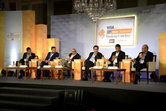 (L to R) Venkatesh Hariharan, director (fintech) iSpirit, Sandep Goenka, co-founder and COO-ZebPay Bitcoin exchange, Leslie D'Monte, national technology editor-MINT, Deepak Sharma, chief digital officer-Kotak Mahindra Bank, B. Madhivanan, chief technology officer-ICICI Bank and Nitin Chugh, country head, digital banking- HDFC Bank. Photo: Abhijit Bhatlekar/Mint