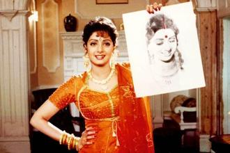 Sridevi as Pooja and Pallavi in Lamhe (1991).